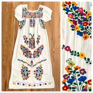 Hand embroidered Mexican maxi dress